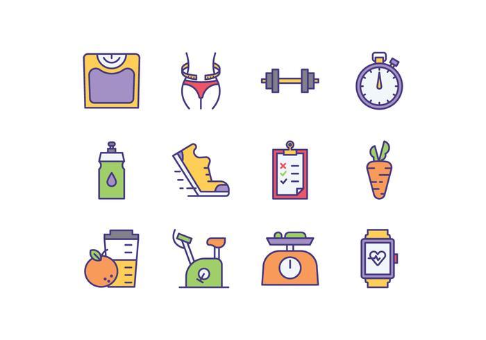 Icone del programma di dieta gratuita vettore
