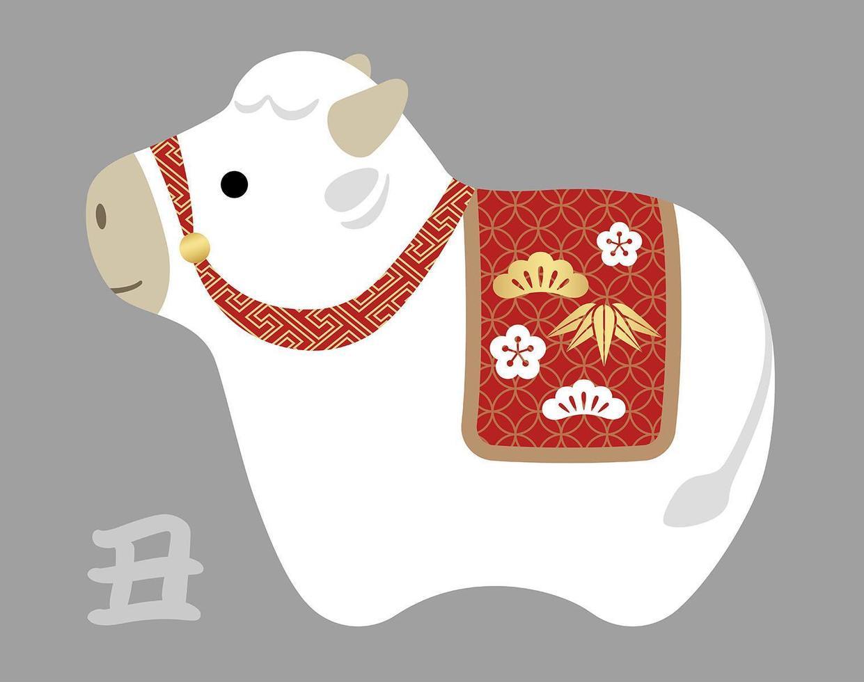 anno del bue mascotte carina giapponese vettore