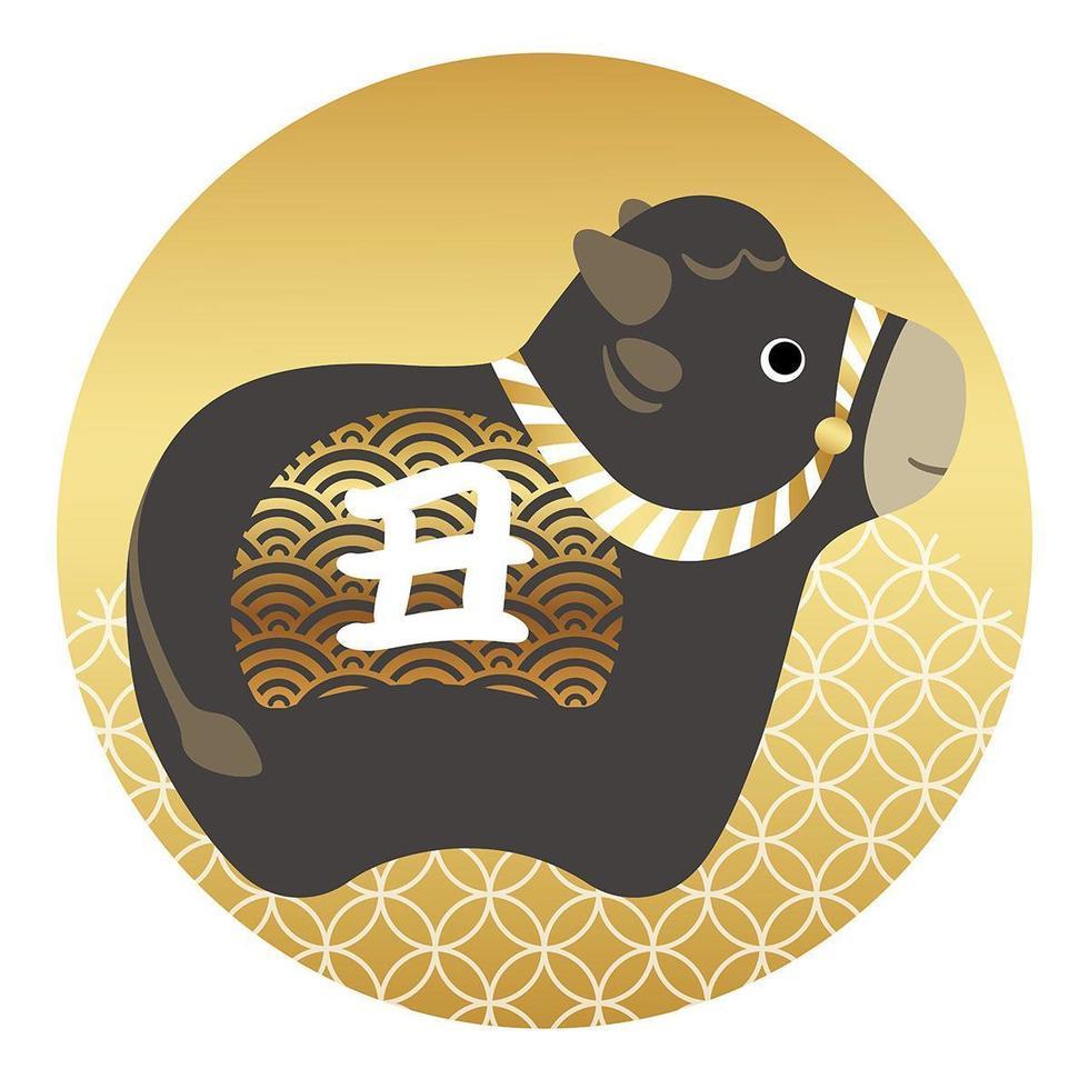anno dell'icona rotonda mascotte giapponese del bue vettore