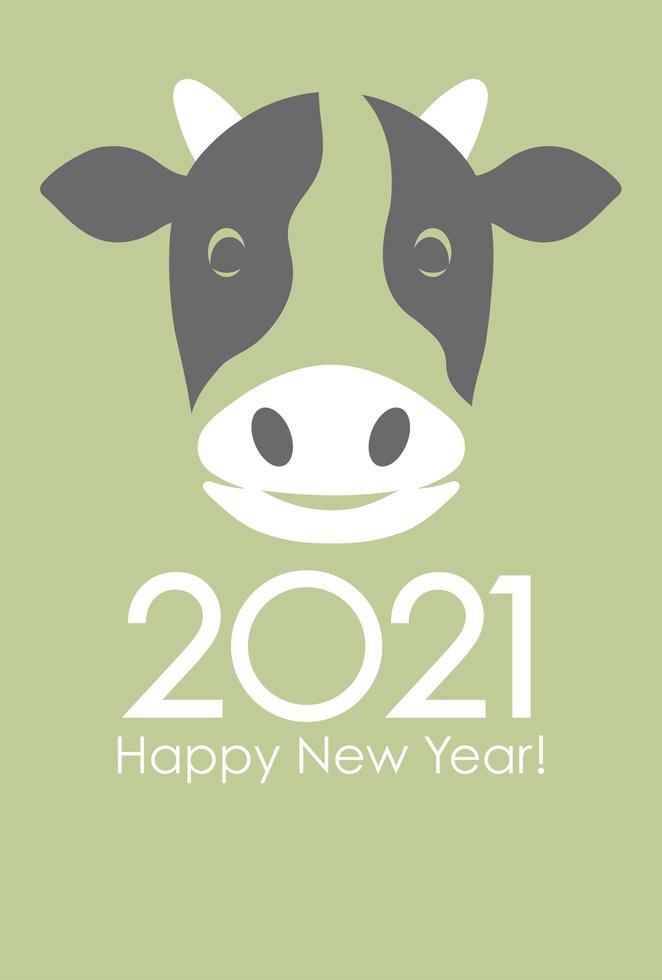 nuovo anno del design biglietto di auguri di bue vettore