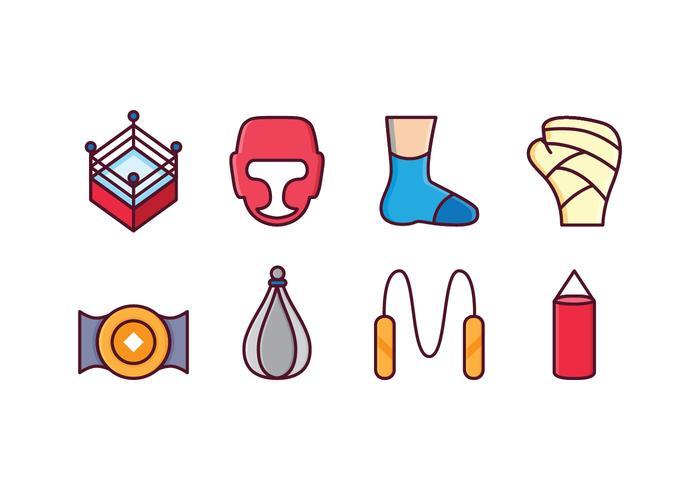 Set di icone di boxe gratis vettore
