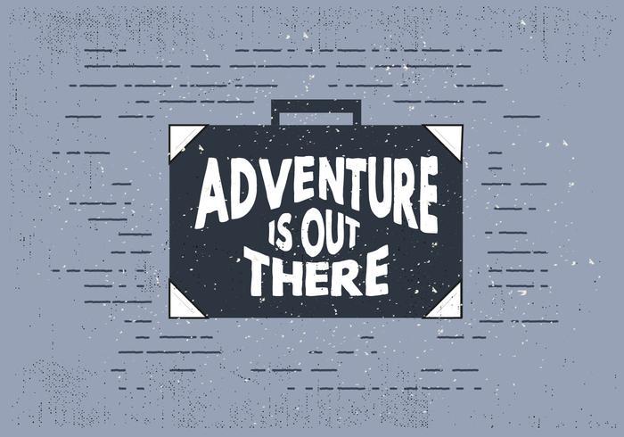 Viaggio disegnato a mano libera valigia con tipografia vettore