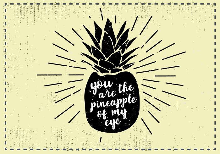 Sfondo di PineappleFruit disegnato a mano libera vettore