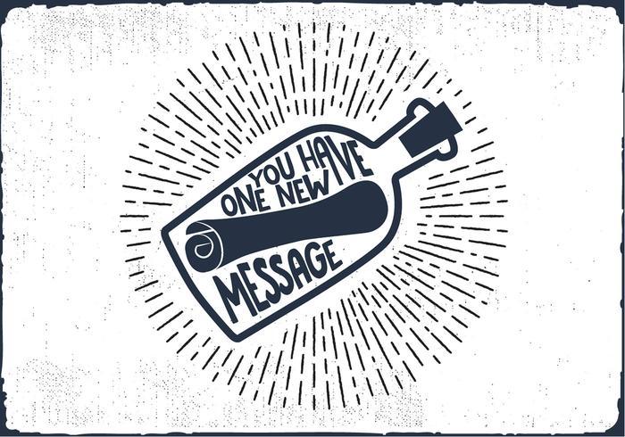 Messaggio gratuito in un vettore di lettering mano bottiglia