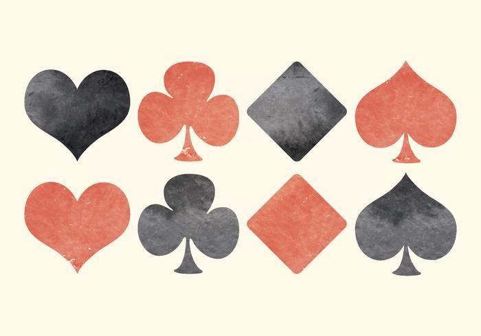 Simboli di carte da gioco acquerello vettoriale