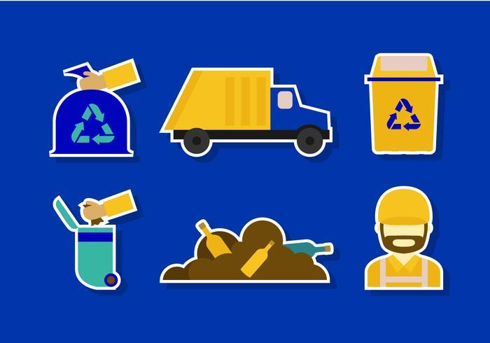 Icona di discarica piatta vettore