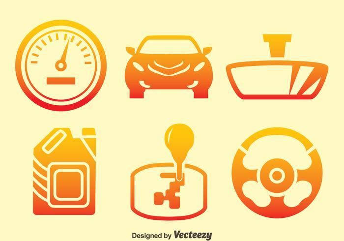 Vettore delle icone di pendenza dell'elemento dell'automobile