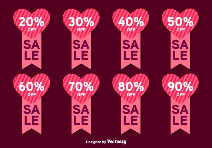 Etichette di vettore di vendita di San Valentino