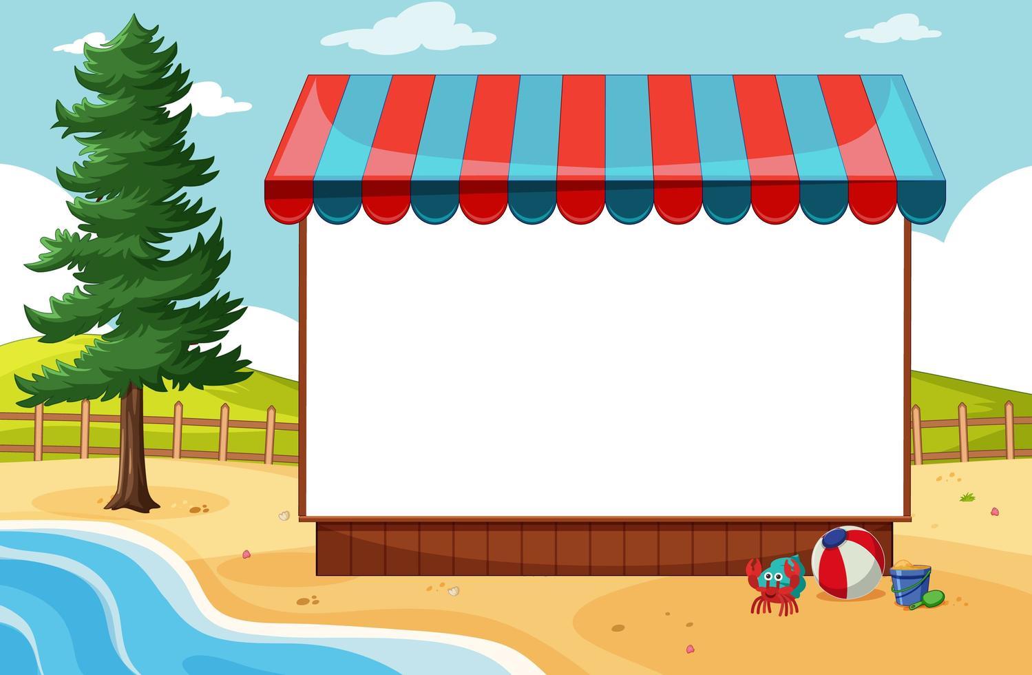 banner bianco con tenda da sole nella scena della spiaggia vettore