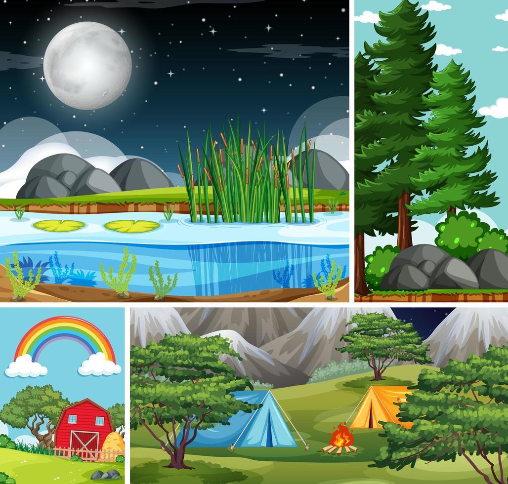 quattro diverse scene della natura della foresta e del campeggio vettore