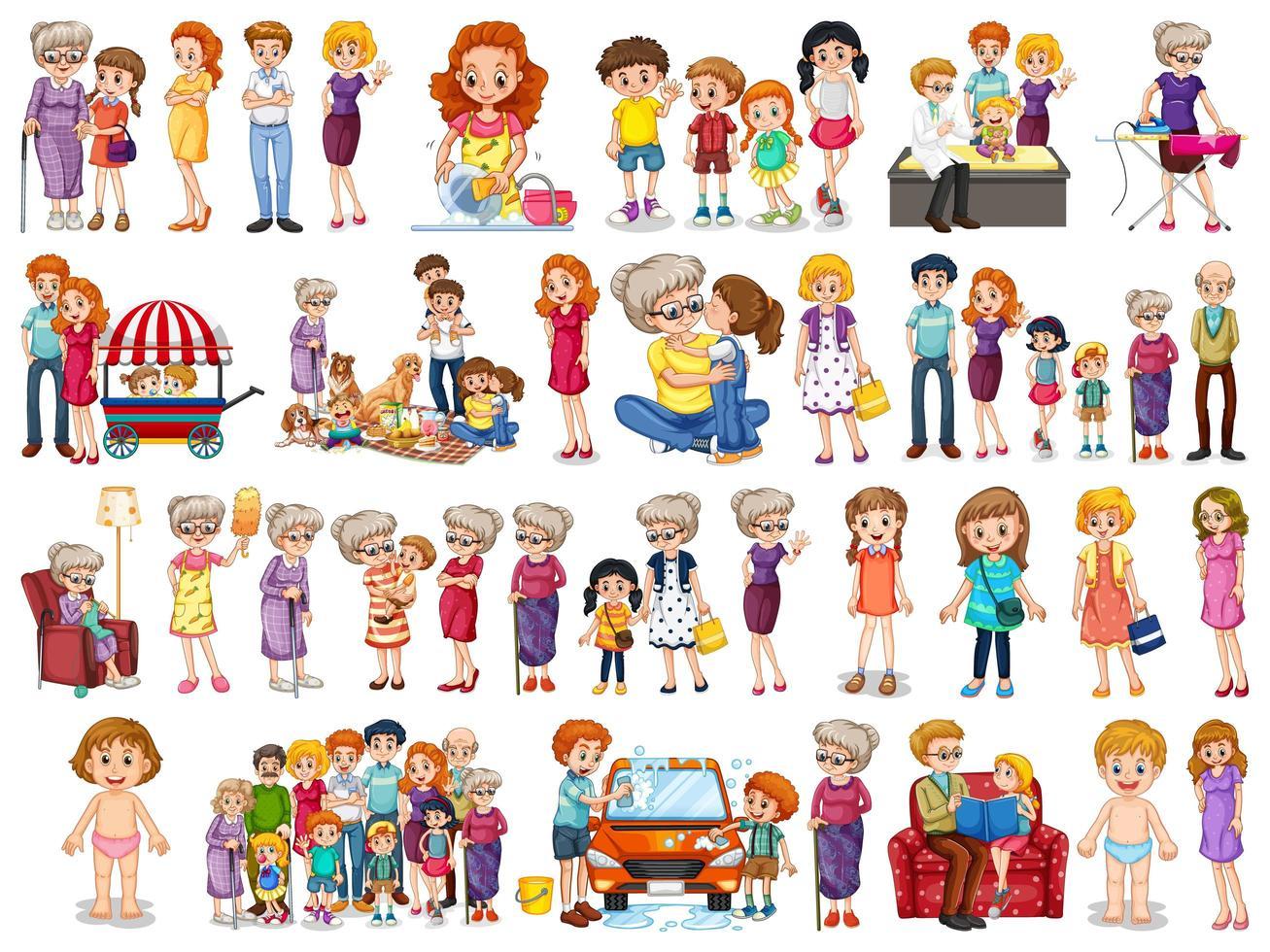 set di caratteri dei membri della famiglia vettore