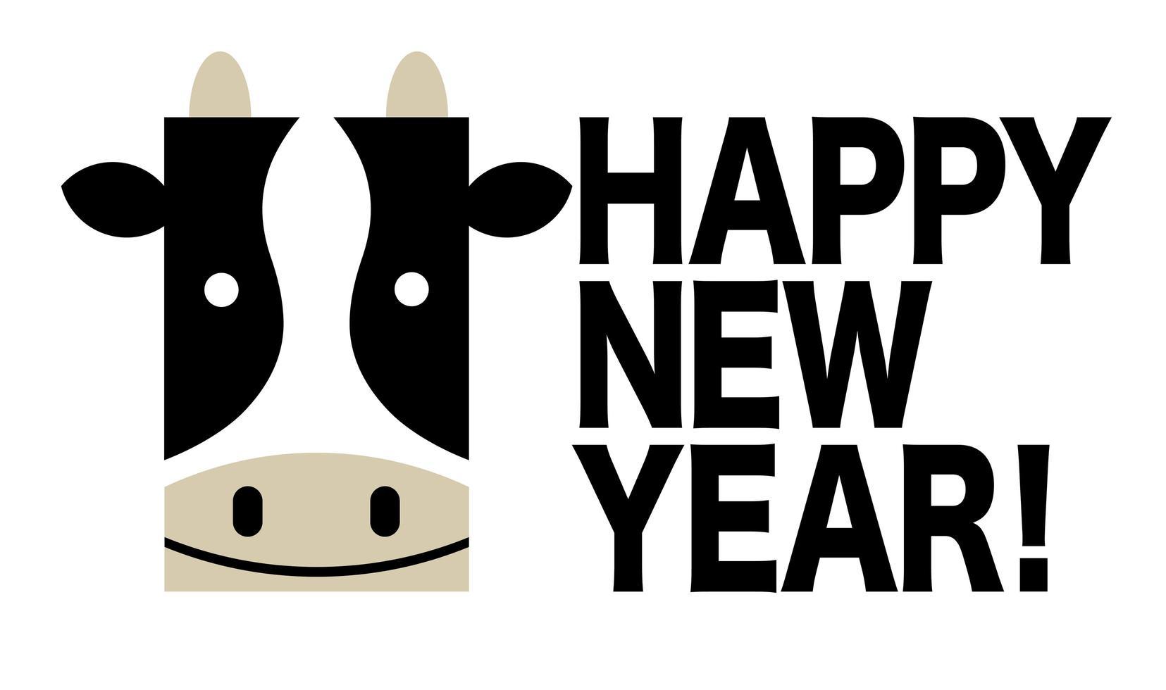 felice anno nuovo design con una mucca vettore
