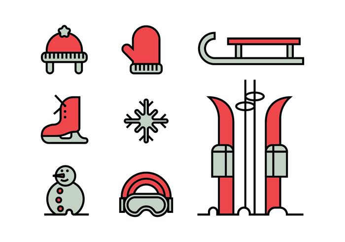 Set di icone di attività invernali vettore