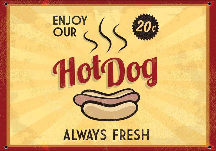 Retro vettore d'ardore del segno del hot dog