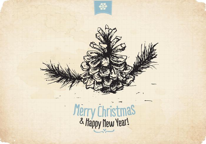 Vettore d'annata del pino di Natale