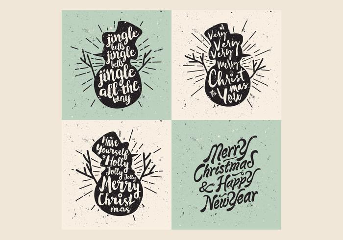Vettore del canto natalizio di Natale dei pupazzi di neve