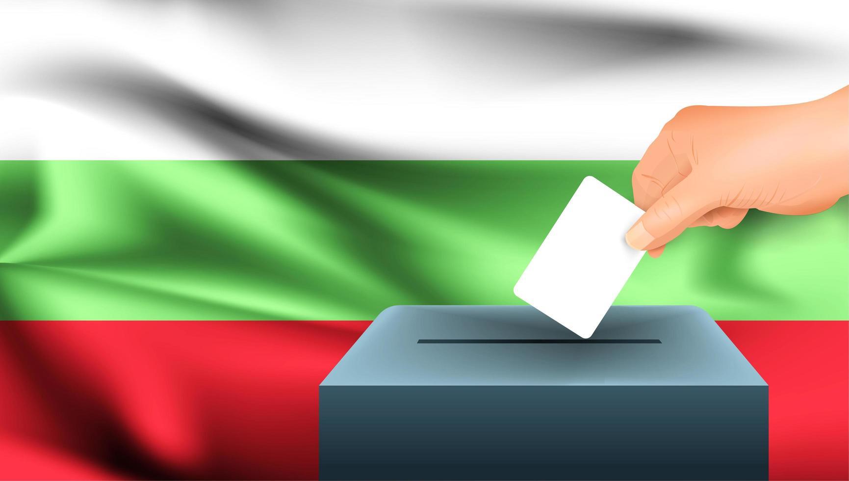 mano mettendo scheda elettorale nella casella con bandiera bulgara vettore