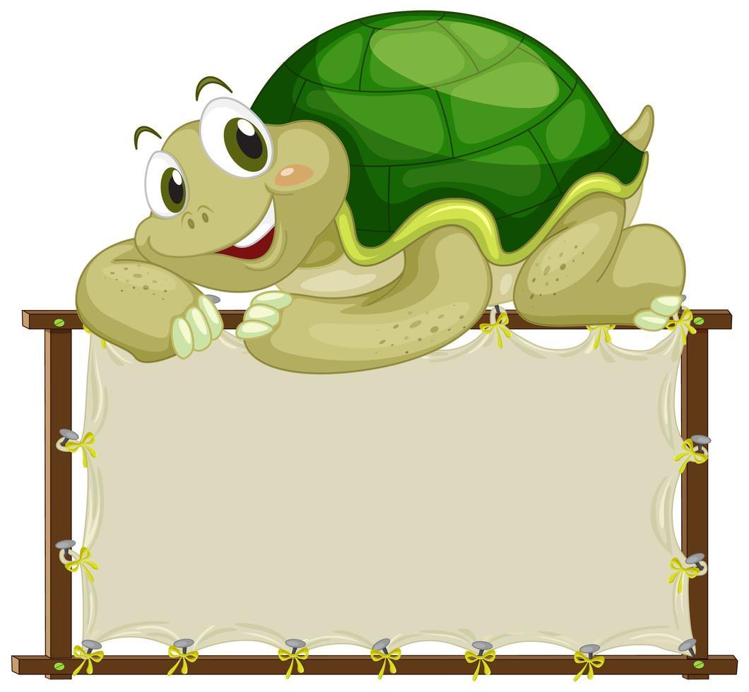 modello di scheda con tartaruga su sfondo bianco vettore