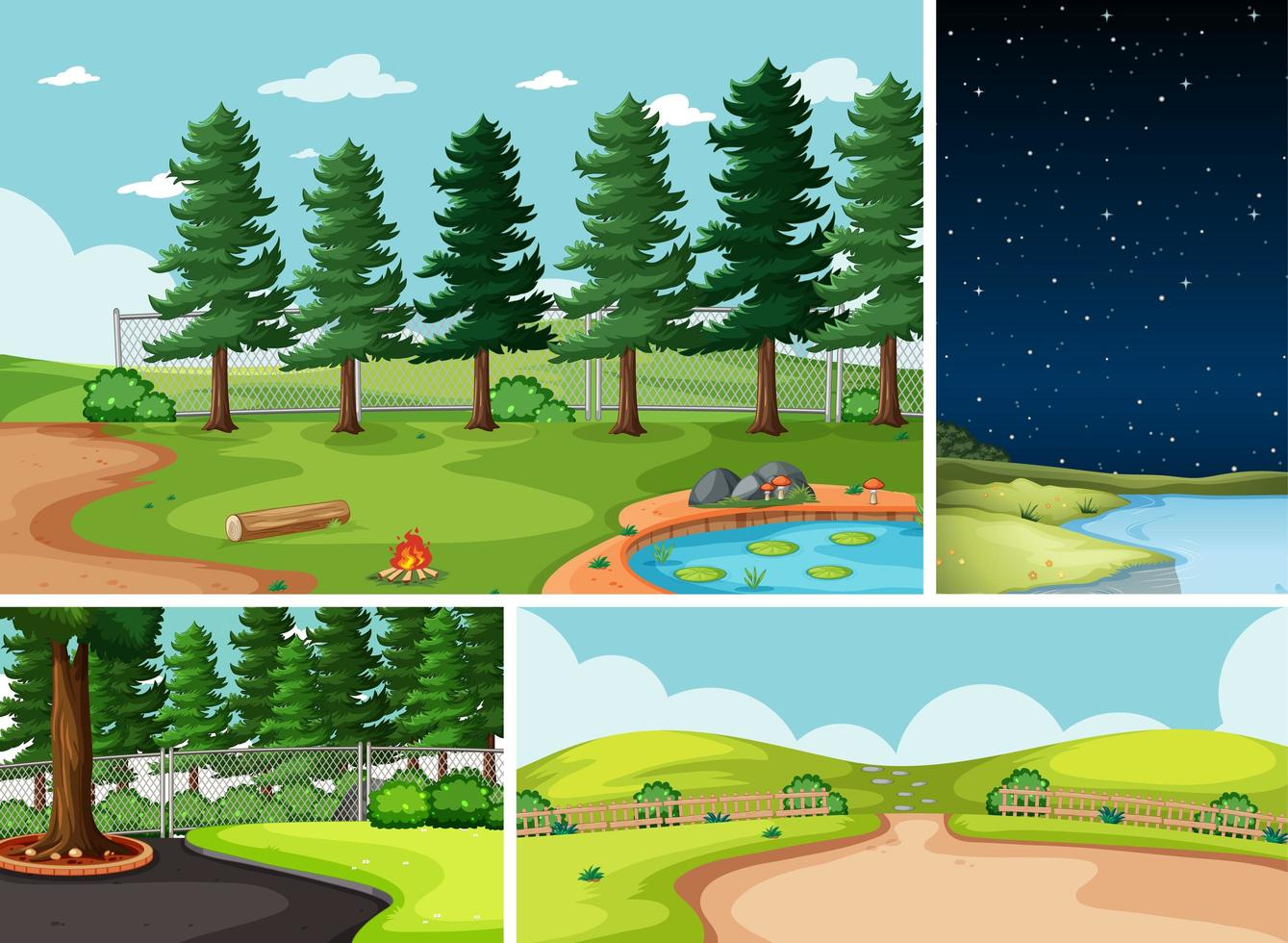 quattro diverse scene in natura vettore