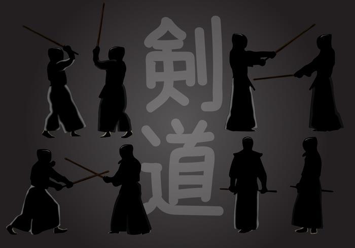 silhouette di azione del kendo vettore