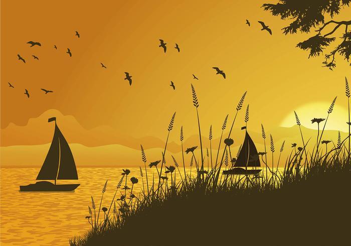 Vettore libero di tramonto dell'avena del mare