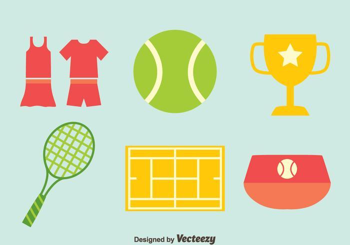Vettore piano delle icone di tennis