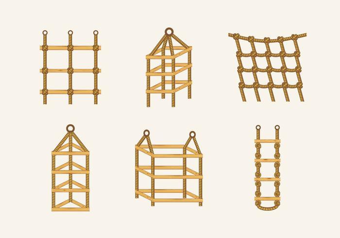 Stock di legno di scale delle scale del nodo della scala di corda vettore