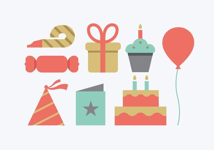 Icone della festa di compleanno vettore