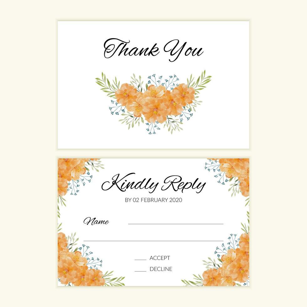 carta rsvp di nozze con bouquet di fiori di calendula dell'acquerello vettore