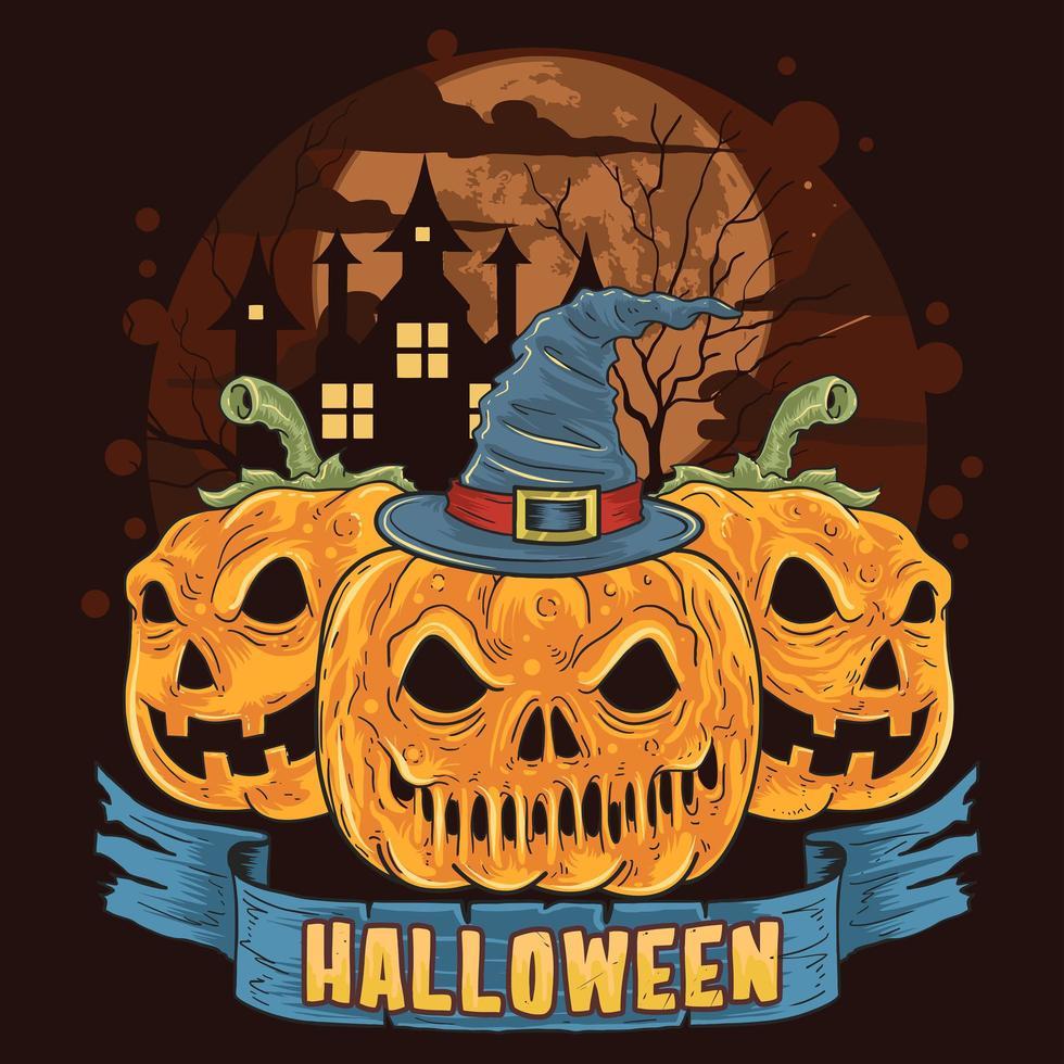 zucche in una spettrale notte di Halloween vettore