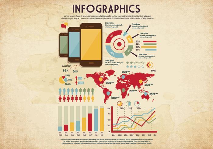 Vettore di promemoria infografica stile vintage