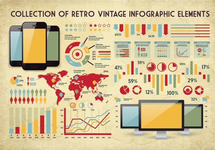 vettore di raccolta vintage infografica