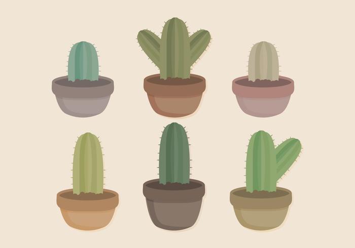raccolta di cactus in vaso vettoriale