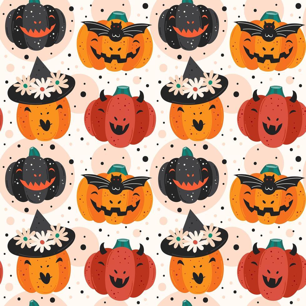 zucche spettrali halloween seamless pattern di sfondo vettore