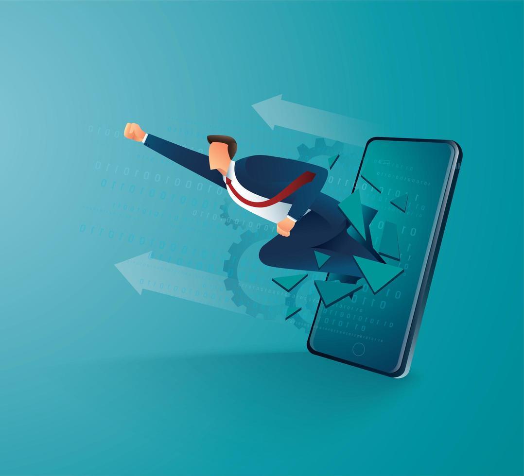 imprenditore sfondare lo schermo del cellulare per il successo vettore