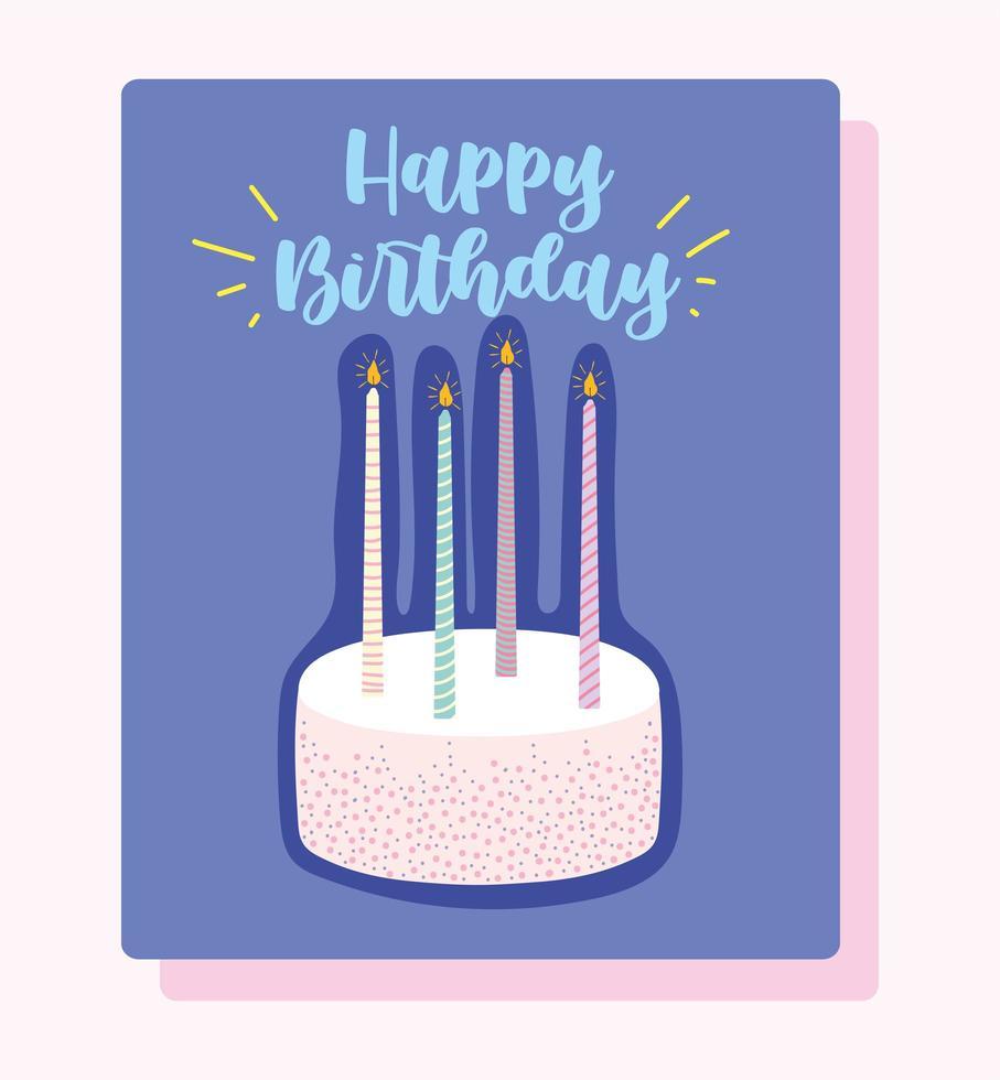 torta con candele accese vettore