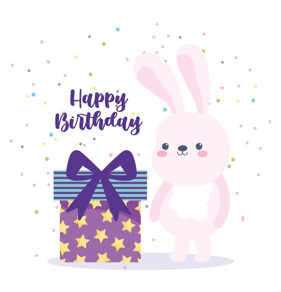 buon compleanno coniglio e confezione regalo sorpresa vettore
