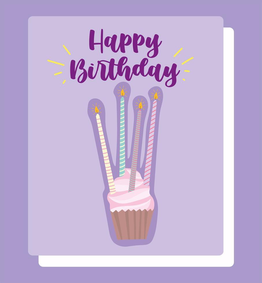 cupcake con carta di candele luminose vettore