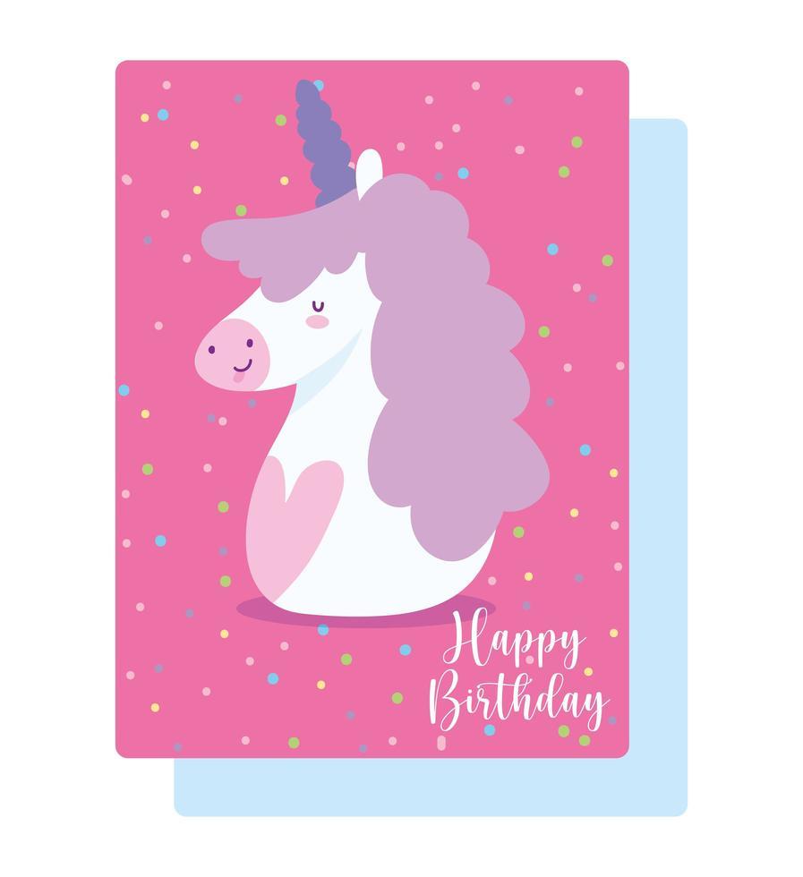 buon compleanno unicorno vettore