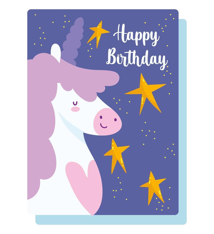 buon compleanno unicorno stelle card vettore