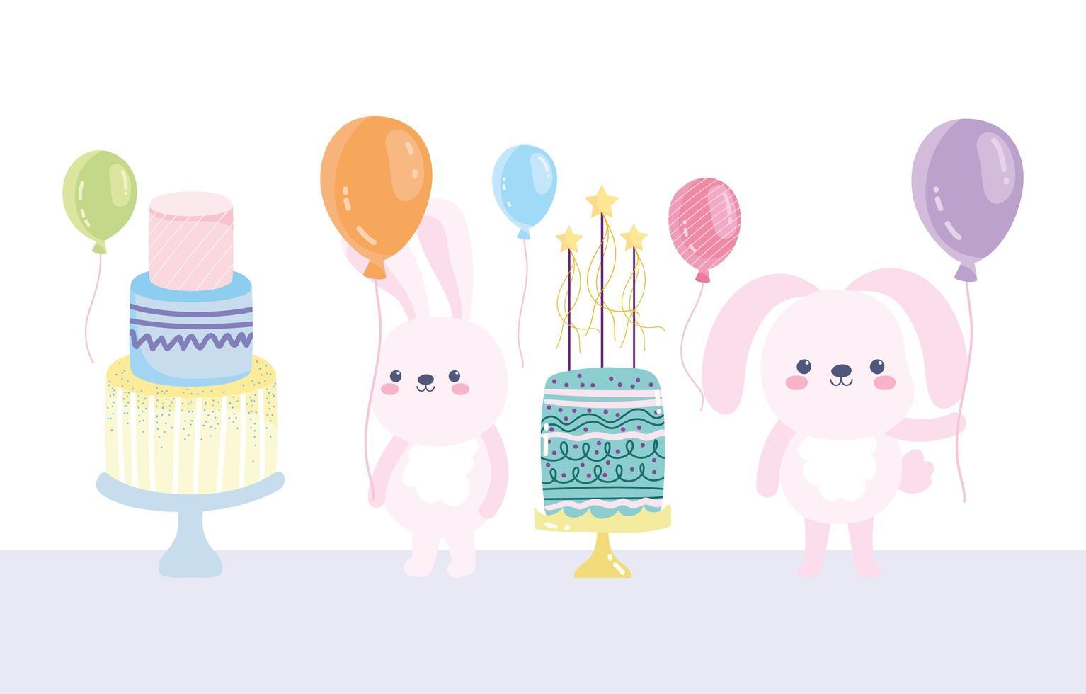 conigli di buon compleanno con torte e palloncini vettore