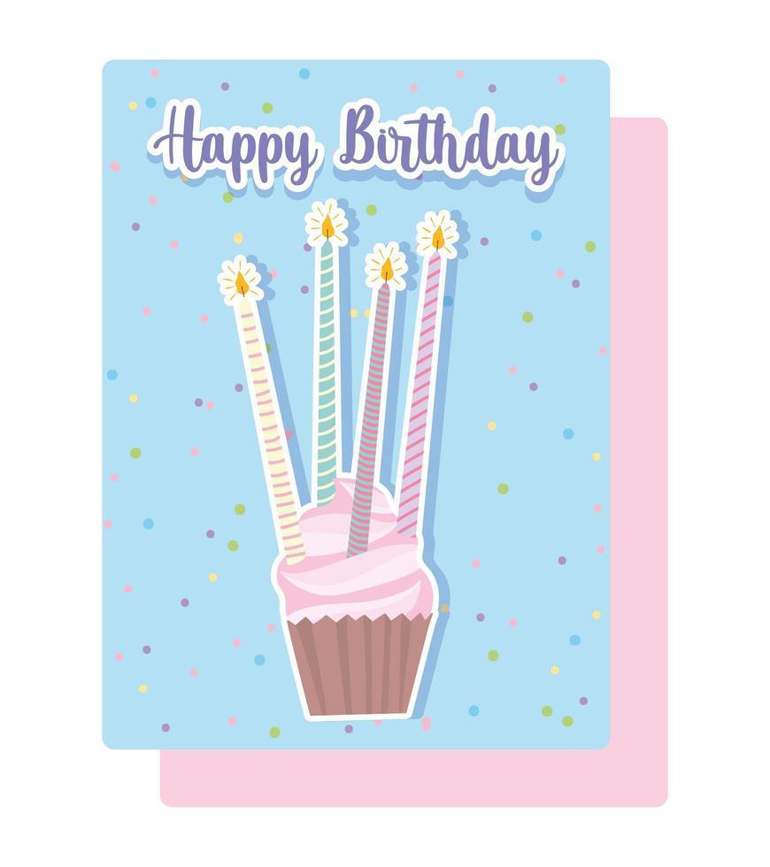 gustoso cupcake con carta di candele vettore