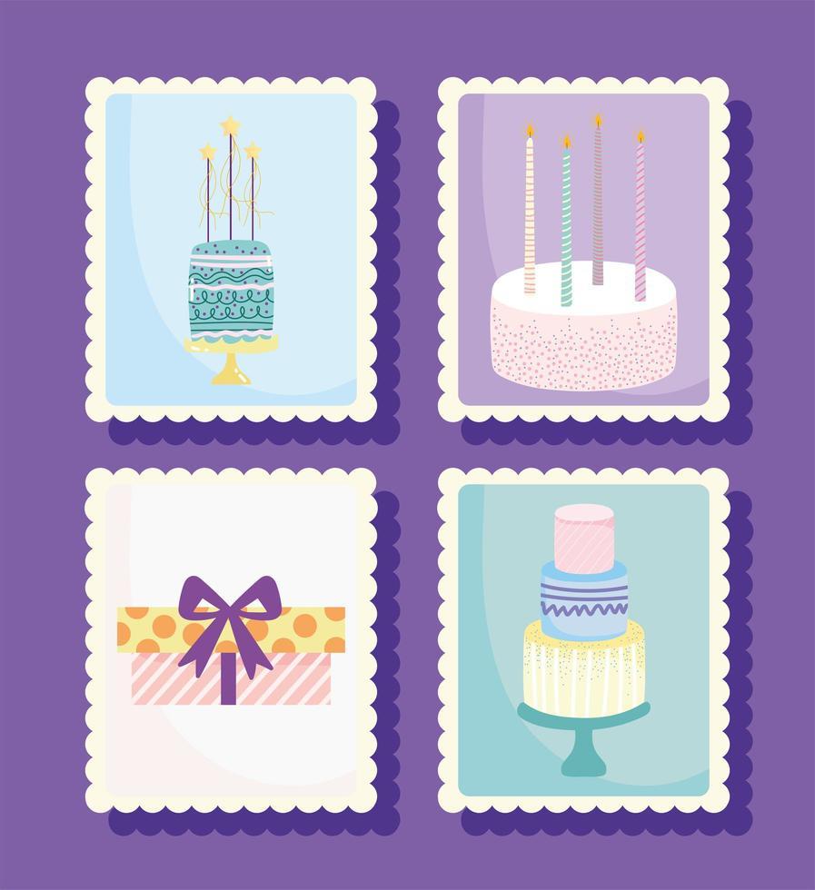 set di francobolli di buon compleanno vettore