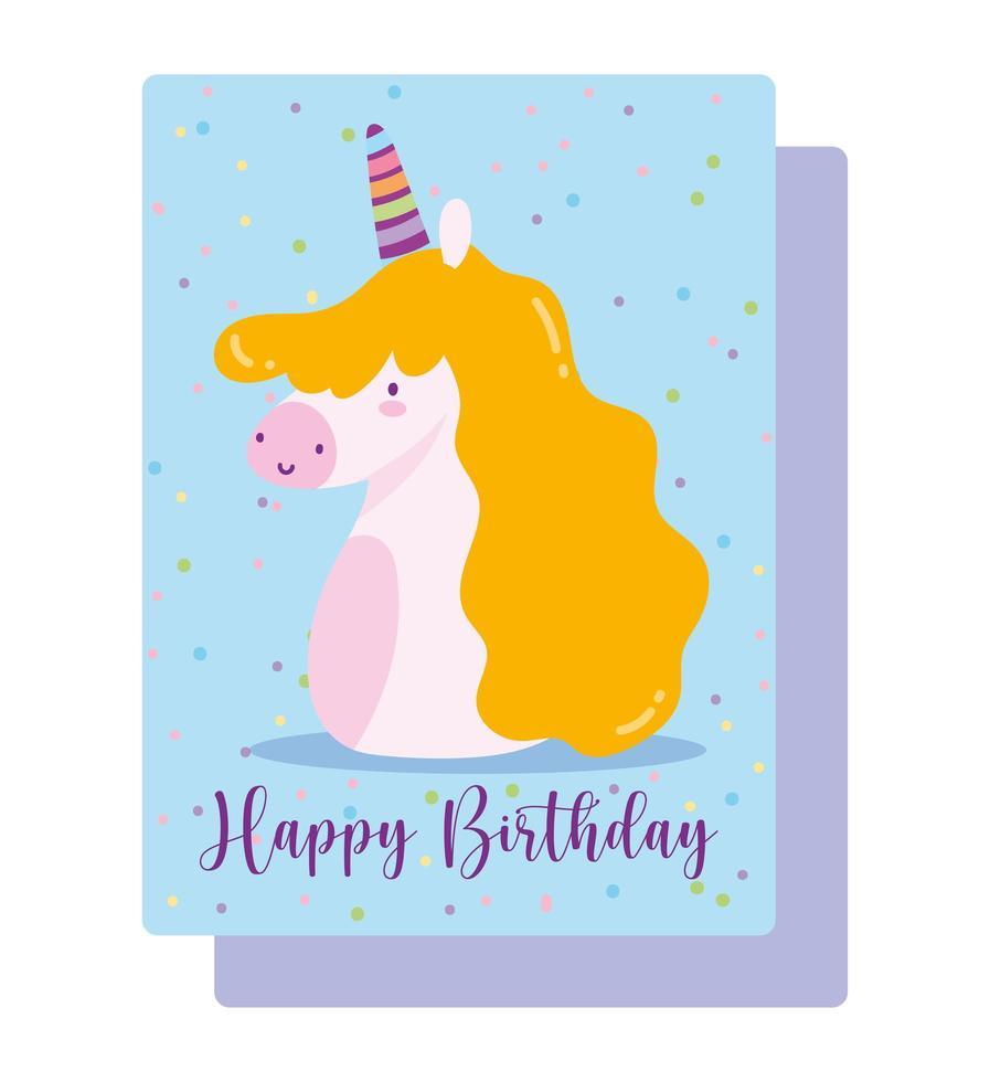 carta di decorazione celebrazione unicorno vettore