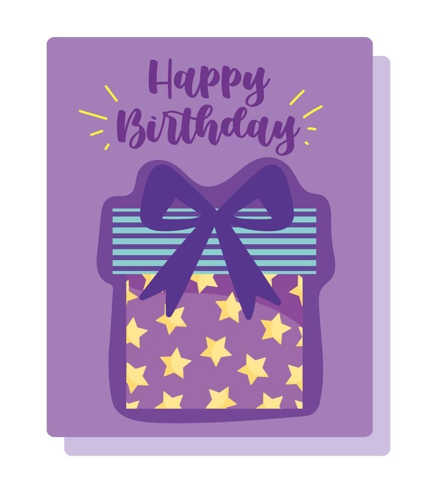 carta di decorazione celebrazione scatola regalo stellato vettore