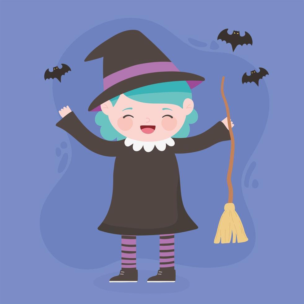 felice halloween, strega ragazza con scopa vettore