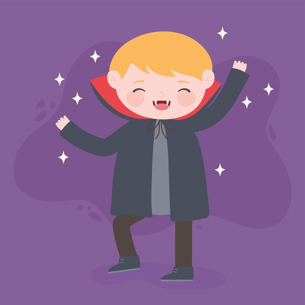 felice halloween, ragazzo vampiro con mantello vettore