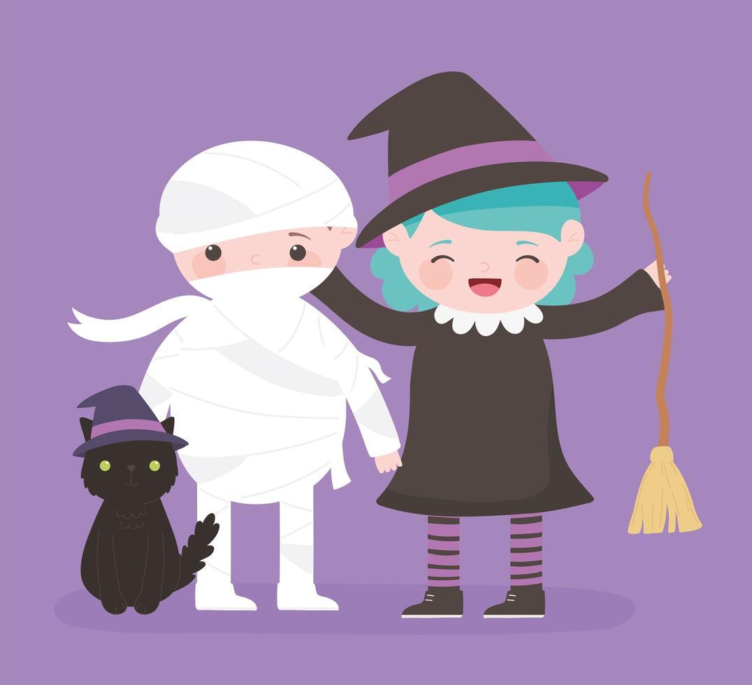 Happy Halloween, mummia, strega e gatto vettore