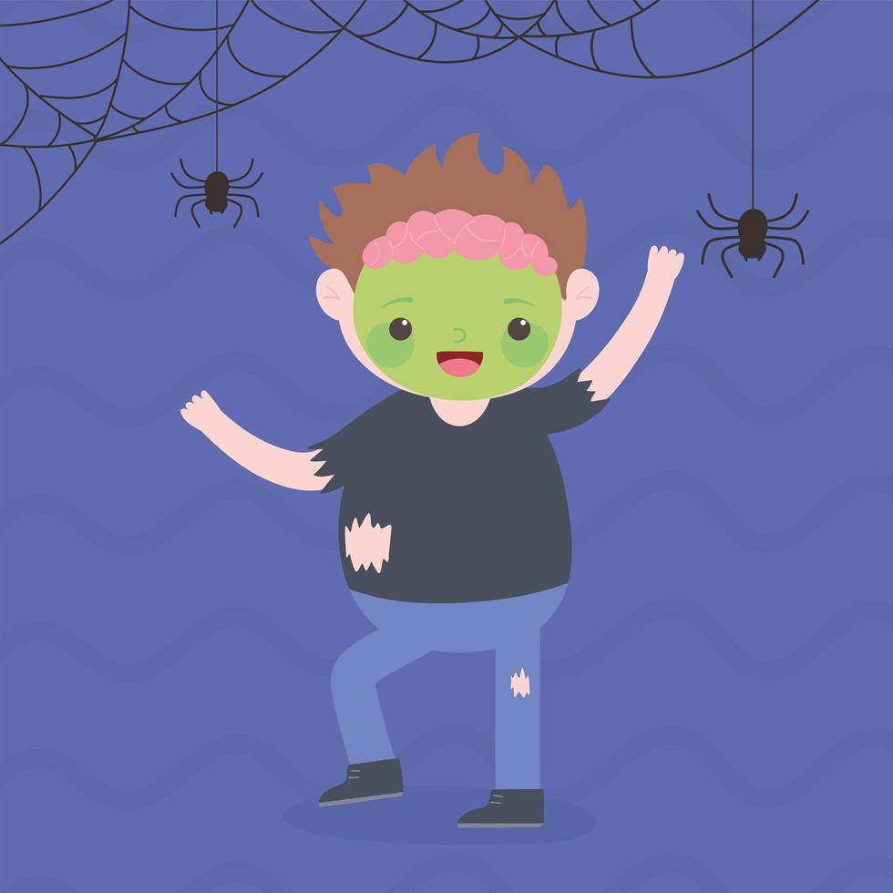 felice halloween, sorridente ragazzo zombie con ragni vettore