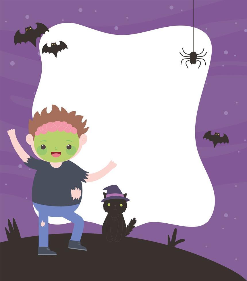 cornice di Halloween con ragazzo zombie e gatto vettore